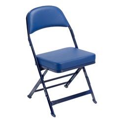 3400 Series Folding Chair w/ Vinyl-Upholstered Seat & Back - Navy vinyl w/ navy frame