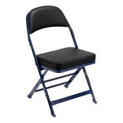 3400 Series Folding Chair w/ Vinyl-Upholstered Seat & Back - Black vinyl w/ navy frame