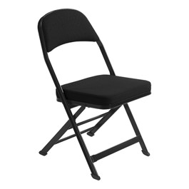3400 Series Folding Chair w/ Fabric-Upholstered Seat & Back - Black fabric w/ black frame