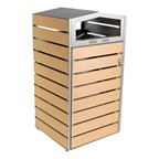 Woodview Double-Sided Waste Container w/ Dome Lid