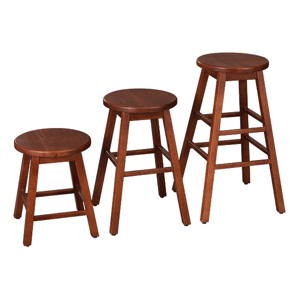 "Bison Wood Stool (18"" H) - Henna - Three sizes shown"