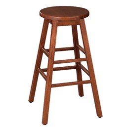 "Bison Wood Stool (30"" H) - Henna"