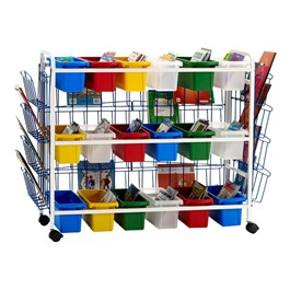 Leveling Reading Book Browser Cart w/ 18 Small Open Tubs & Book Displays