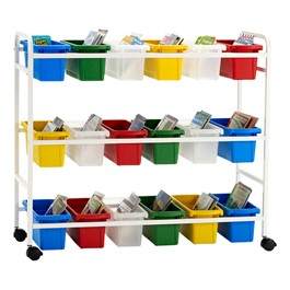 Leveling Reading Book Browser Cart w/ 18 Small Tubs