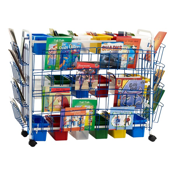 Leveled Reading Book Browser Cart w/ Six Large Divided Tubs, Three Large Open Tubs & Book Dividers - Accessories not included