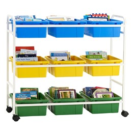 Leveled Reading Book Browser Cart w/ Six Large Divided & Three Large Open Tubs - Accessories not included