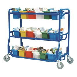 Library on Wheels w/ 18 Small Tubs