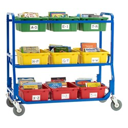 Library on Wheels w/ Nine Large Tubs