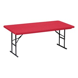 """Colorful Blow-Molded Plastic Folding Table - Adjustable Height (24\"""" W x 48\"""" L)"""