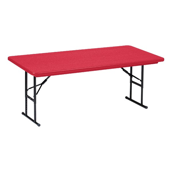 """Colorful Blow-Molded Plastic Folding Table - Adjustable Height (24"""" W x 48"""" L)"""
