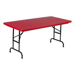 "Colorful Blow-Molded Plastic Folding Table - Adjustable Height (30"" W x 72"" L)"