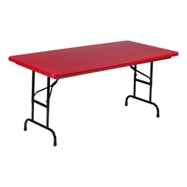 "Colorful Blow-Molded Plastic Folding Table - Adjustable Height (30"" W x 60\"" L)"
