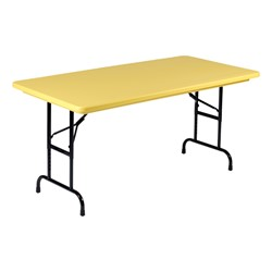 "Colorful Blow-Molded Plastic Folding Table - Adjustable Height (24"" W x 48"" L)"