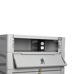 TekStak Laptop Storage Cabinet w/ Charger and Electronic Lock - powerstrip
