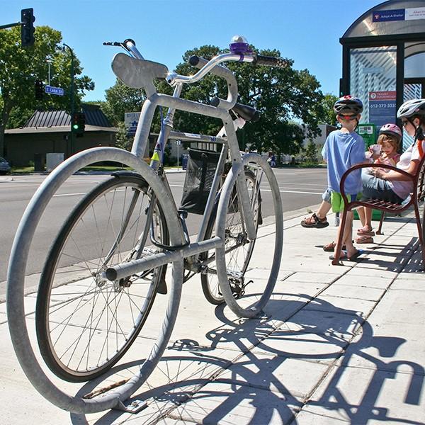 Bike Bike Rack - shown in galvanized steel