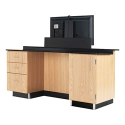 VersaCurve w/ TV Mount, Three Drawer (One File) Cabinet and Door Cabinet