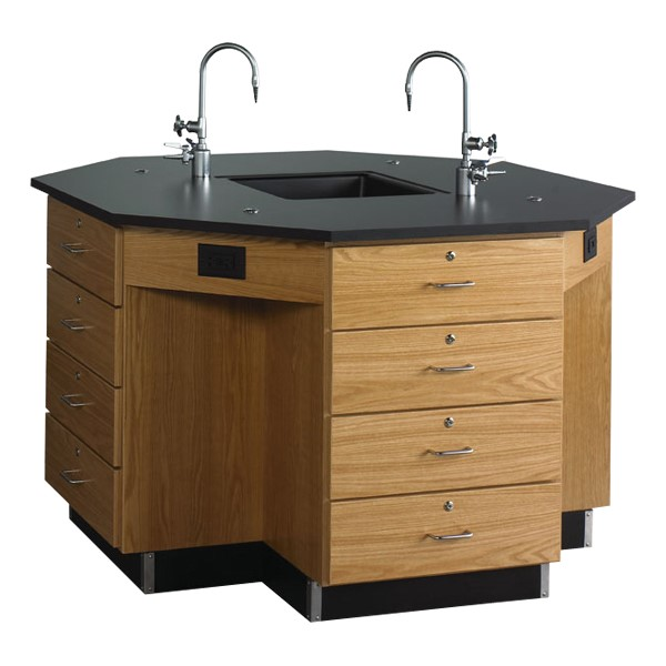 Octagon Lab Workstation w/ Drawer Base