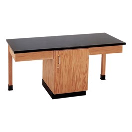 Two-Student Science Cabinet Table w/ Storage - Plain Apron - Plastic Laminate Top (Door)