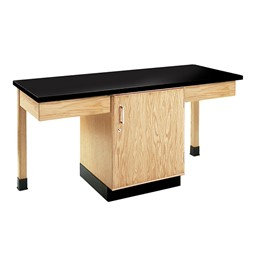 Two-Student Science Cabinet Table w/ Storage - Plain Apron - Epoxy Resin Top (Door)