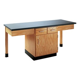 Two-Student Science Cabinet Table w/ Storage - Plain Apron - Epoxy Resin Top (Door & Drawers)