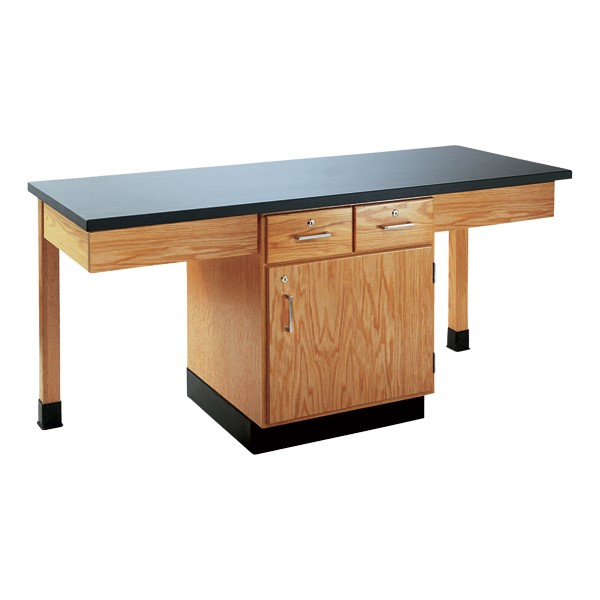 Two-Student Science Cabinet Table w/ Storage - Plain Apron - Plastic Laminate Top (Door & Drawers)