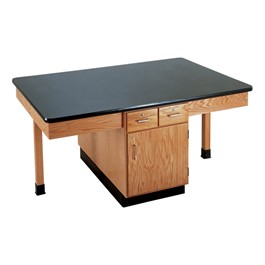 Four-Student Science Cabinet Table - Plain Apron - ChemGuard Top (Doors & Drawers)
