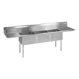 """High Quality Compartment Sink w/ 2 24\"""" Drainboards - 3 Sinks"""