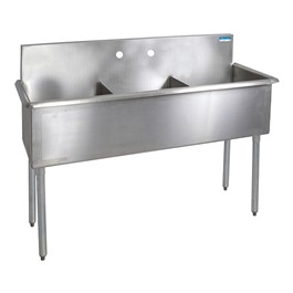 "Budget Compartment Sink - 3 Sinks (18"" L x 18\"" W x 12\"" D)"