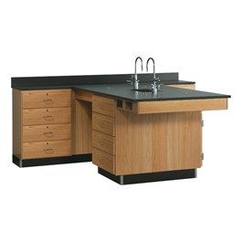 Perimeter Lab Workstation with 4-Drawer Cabinet