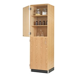"Tall Wood Storage w/ Top & Bottom Doors (24"" W)"