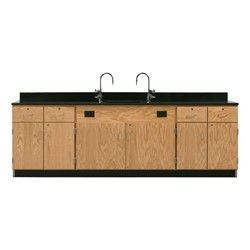 Wall Service Bench w/ Storage Cabinets - Four Drawers & Four Doors