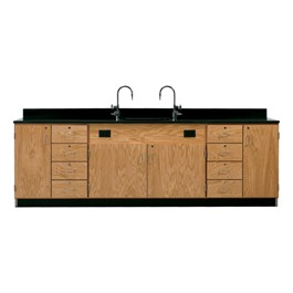 Wall Service Bench w/ Storage Cabinets – 8 Drawers