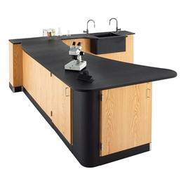 Peninsula Science Workstation w/ Epoxy Resin Top & Wall Side Sink