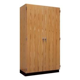 "Tall Wood Storage Cabinet with Oak Wood Doors (36\"" W)"