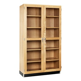 "Tall Wood Storage w/ Shelves & Glass Doors (36"" W)"