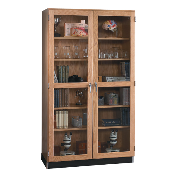 Tall Wood Storage Cabinet With Gl Doors