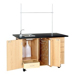 Extra-Large Mobile Lab w/ Sink & Mirror/Markerboard - Open
