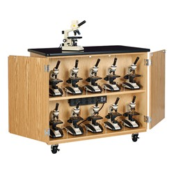 Microscope Storage Cabinet w/ Plastic Laminate Top & Charger (microscopes sold separately)