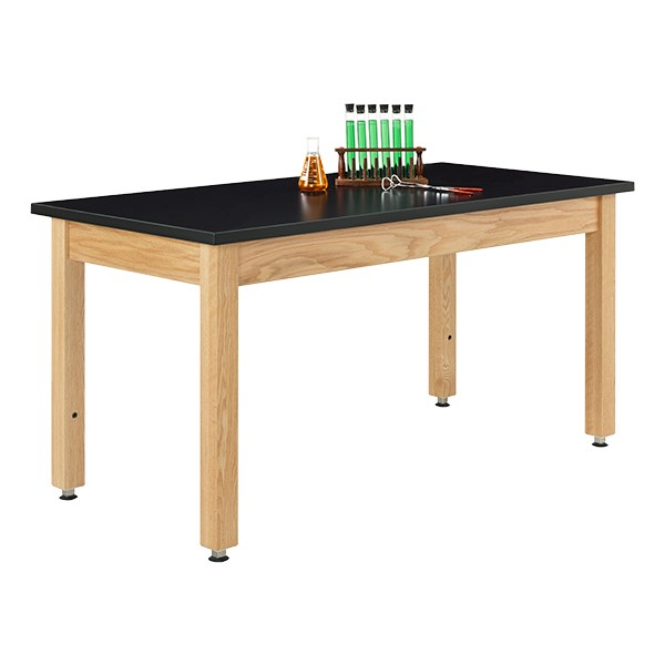 Adjustable-Height Science Lab Table w/ Wood Legs & ChemGuard Top