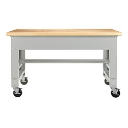 "Fab-Lab Adjustable-Height Workbench (72"" W x 30"" D) - Maple - Optional Shelf & Casters"