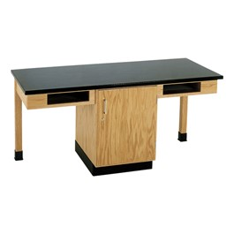 Two-Student Science Cabinet Table - Two Book Compartments - ChemGuard Top (Door)