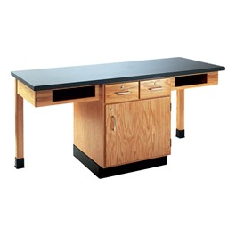 Two-Student Science Cabinet Table - Two Book Compartments - Epoxy Resin Top (Door & Drawers)