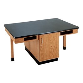 Four-Student Science Cabinet Table - Four Book Compartments - Epoxy Top (Doors)