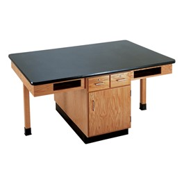 Four-Student Science Cabinet Table - Four Book Compartments - Epoxy Top (Doors & Drawers)