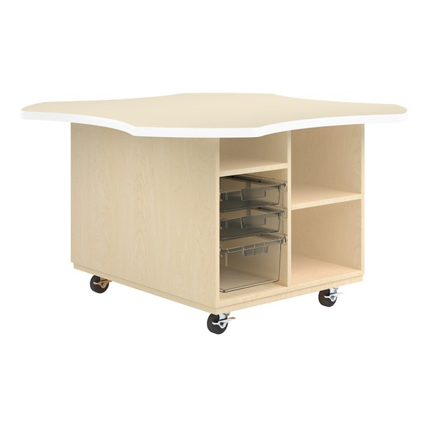 Intermix Mobile Workbench - white edgeband and almond top laminate