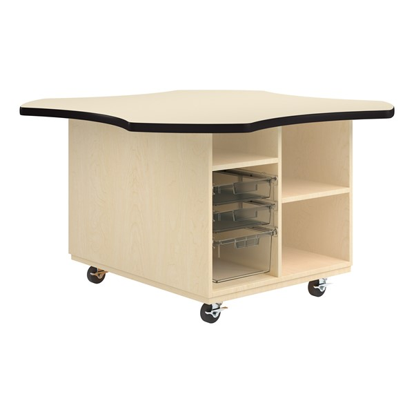 Intermix Mobile Workbench - black edgeband and almond top laminate