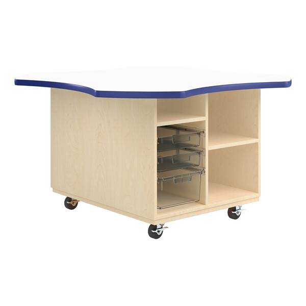 Intermix Mobile Workbench - royal edgeband and white top laminate
