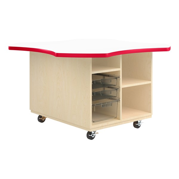 Intermix Mobile Workbench - red edgeband and white top laminate