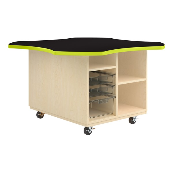 Intermix Mobile Workbench - lime edgeband and black top laminate