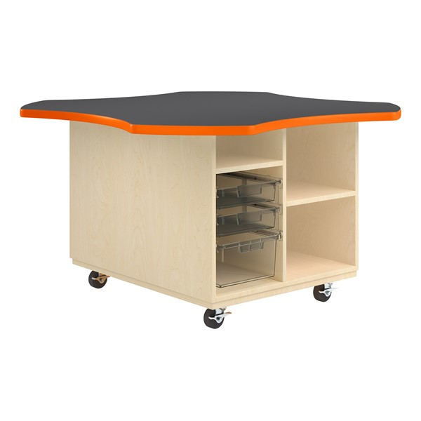Intermix Mobile Workbench - orange edgeband and charcoal top laminate